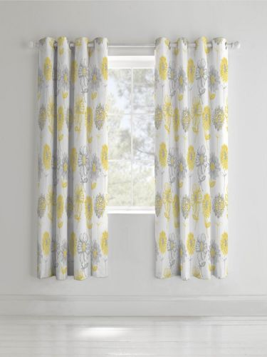 Catherine Lansfield Banbury Floral Yellow Eyelet Curtains